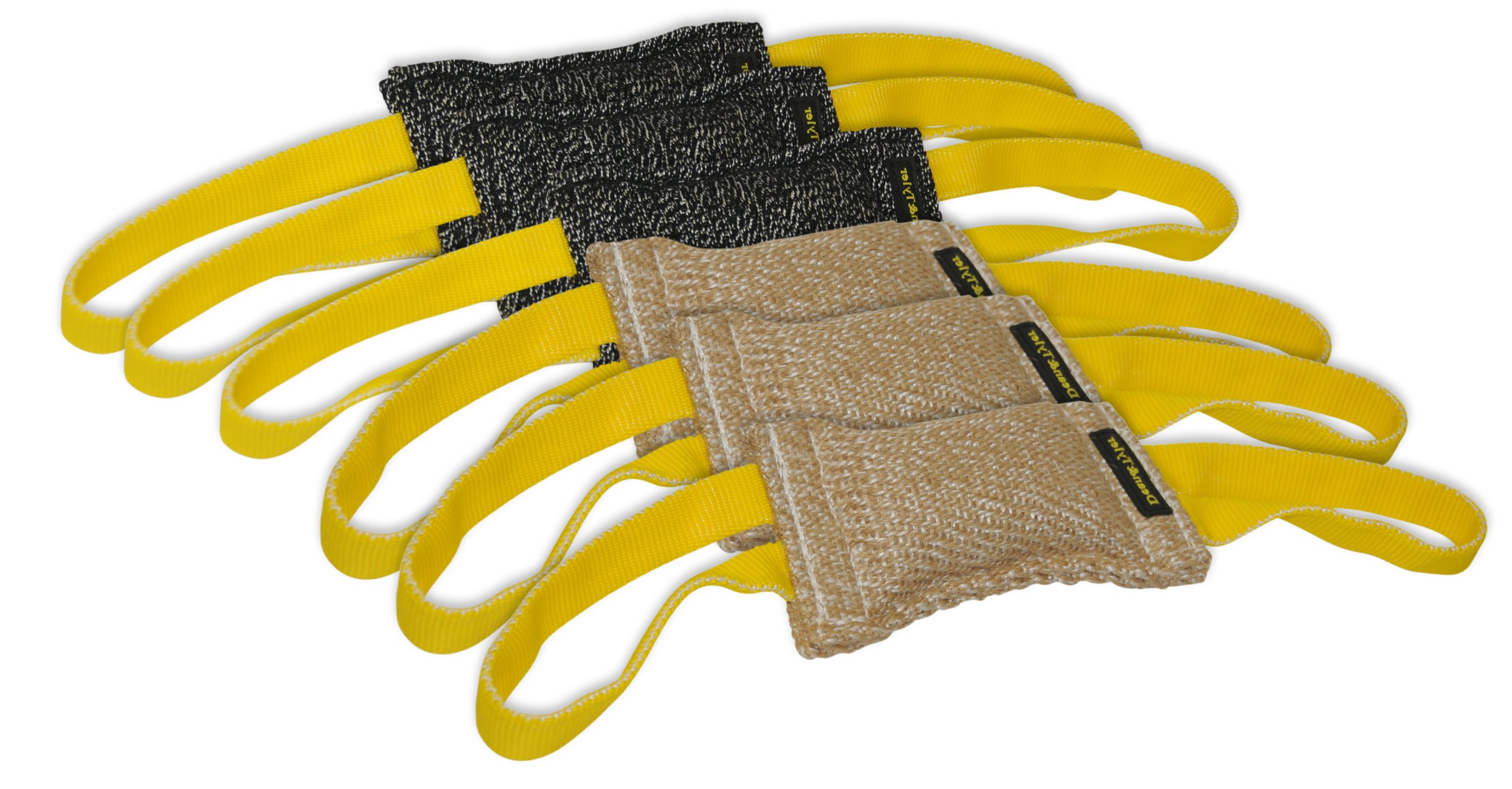 Dean & Tyler Bundle of 6 Tugs for Pets, 3-Jute and 3-French Linen, 8-Inch by 4-Inch