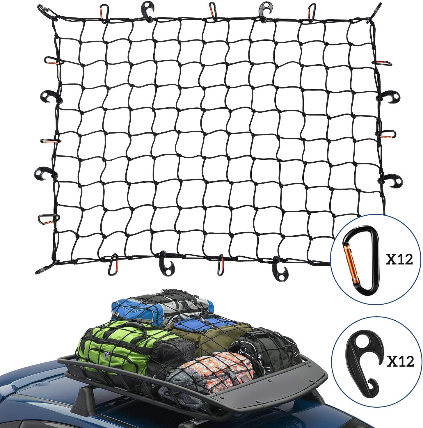 """Rooftop Cargo Basket Large 36/"""" x 60/"""" Stretch Net Netting rooftop loads secure"""