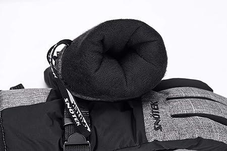SNOTEK Mens Winter Ski Gloves with Wrist Leash ST212-BLACK, X-Large Cold Weather Snow Gloves