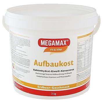 MEGAMAX - Aufbaukost - Suplemento para ganar peso y masa muscular - Fresa - Solo un 0,5% de grasa - 3 kg: Amazon.es: Deportes y aire libre
