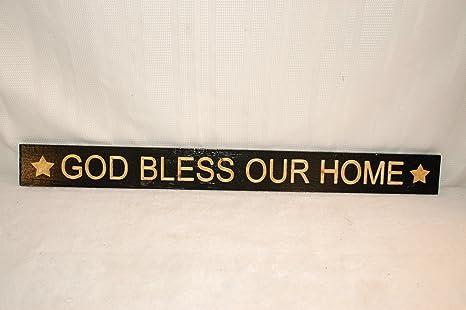 Amazon.com: Dios Bendiga Nuestro hogar Cartel. Esta señal es ...