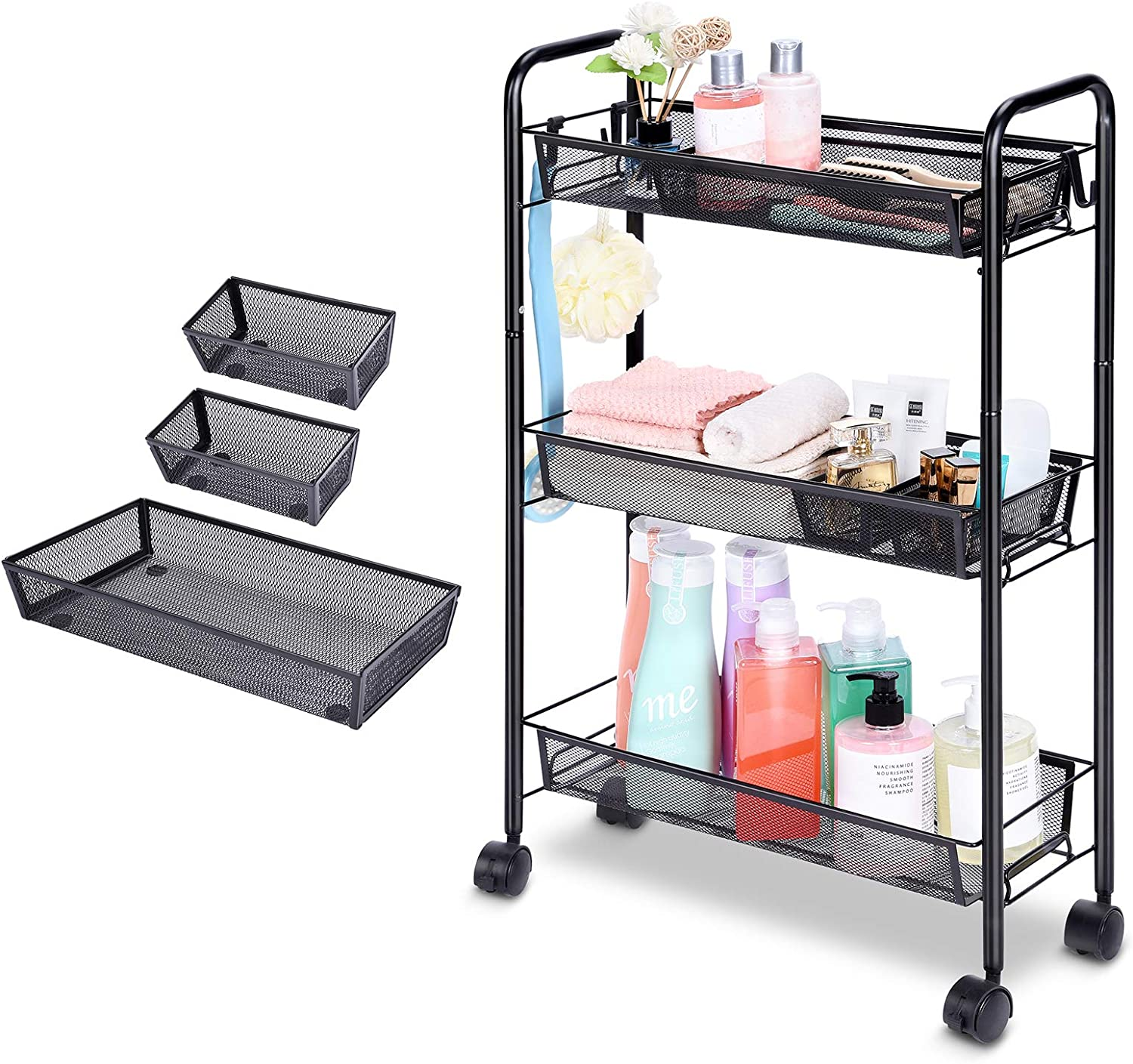 3 Tier Slim Bathroom Storage Cart, Mobile Shelving Unit with 4 Hooks 3 Small Organizer Tray, Lockable Trolley Rolling Cart for Tower Rack, Black