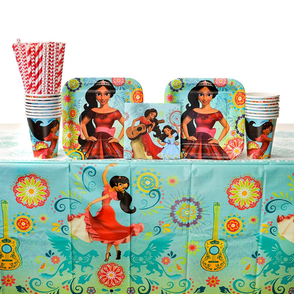 Elena of Avalor Party Supplies Pack for 16 Guests - Straws, Dessert Plates, Beverage Napkins, Cups, and Table Cover