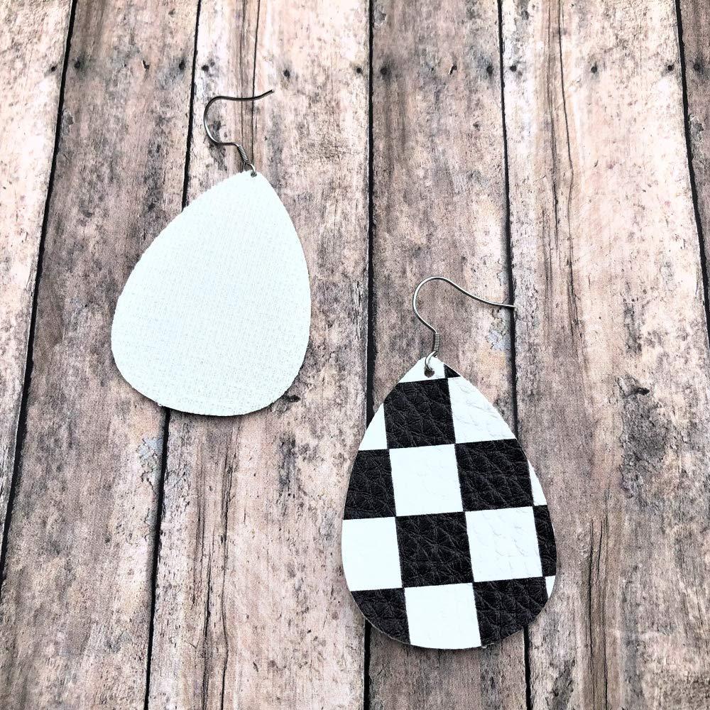 Checkered Flag Leather Earrings Motocross Jewelry Dangle Earrings Black and White Earrings