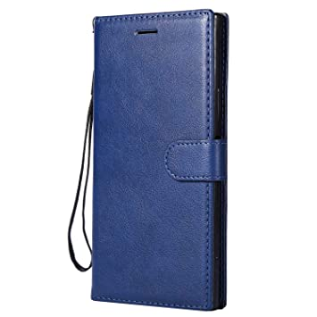 DENDICO Funda Sony Xperia XA1 Ultra, Flip Libro Cuero Carcasa, Diseño Clásico Funda Plegable Cover para Sony Xperia XA1 Ultra - Azul Marino