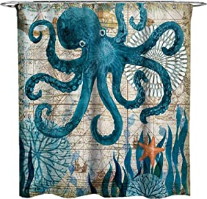 ECONIE Octopus Shower Curtain Ocean Animal Landscape Waterproof Polyester Blackout Draperies Window Solid Grommet with 12 Hooks for Bedroom Livingroom Bathroom,71 x 71 (12)