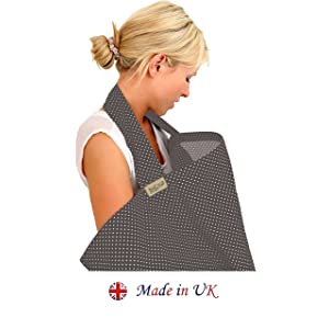 BebeChic * Top Quality 100% Cotton * Breastfeeding Covers * Boned Nursing Tops - with Storage Bag - slate grey / white dot