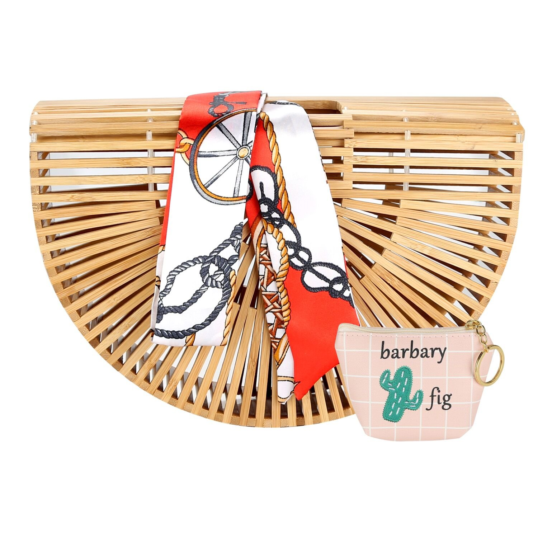 Bamboo Handbag Handmade Tote Bag Handle Bamboo Purse Straw Summer Beach Bag for Women (NBH-A01)