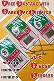 3 lotes de 10 agujas para máquina de coser doméstica, marca Singer, tamaños 14, 16 y 18
