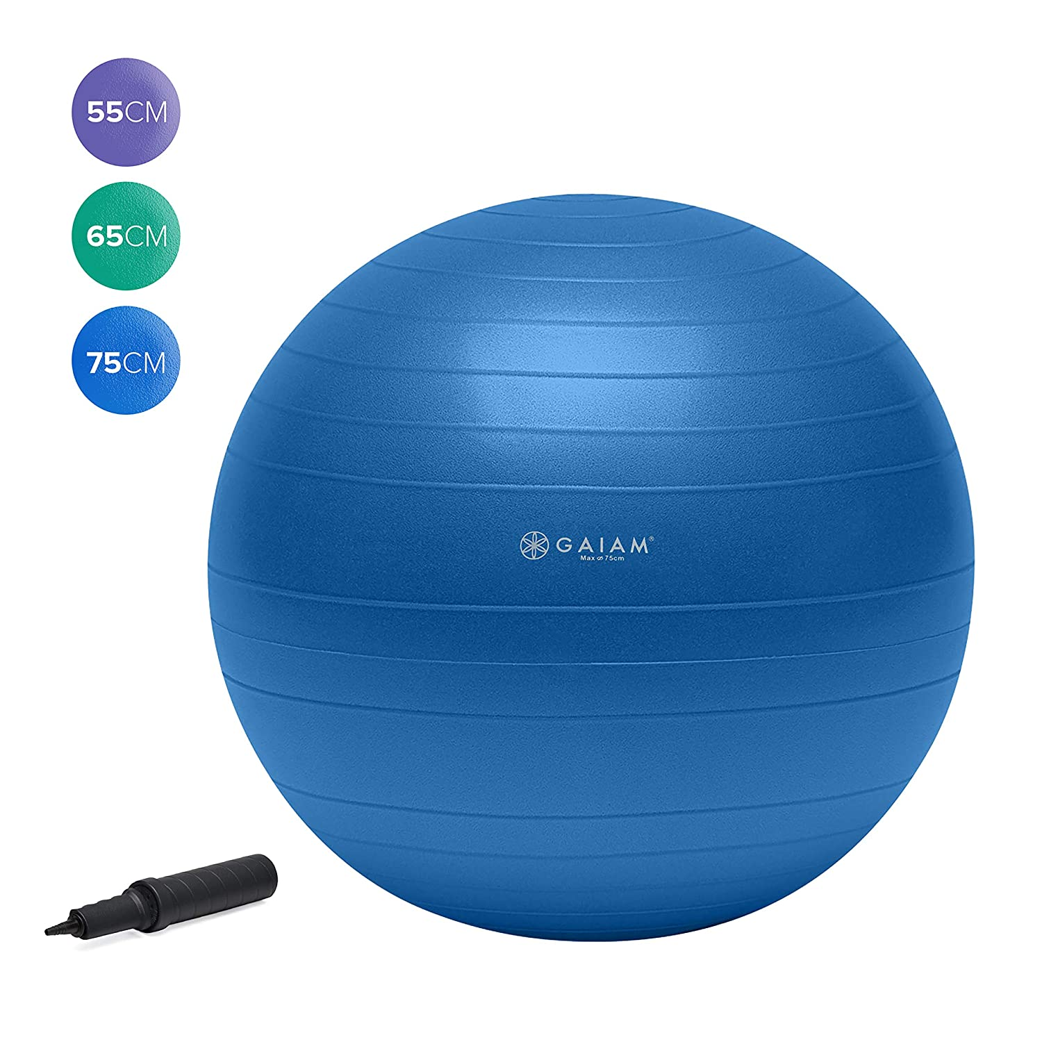 gaiam 52205 Balance Ball Kit, Yoga, Azul, 75 cm: Total Body ...