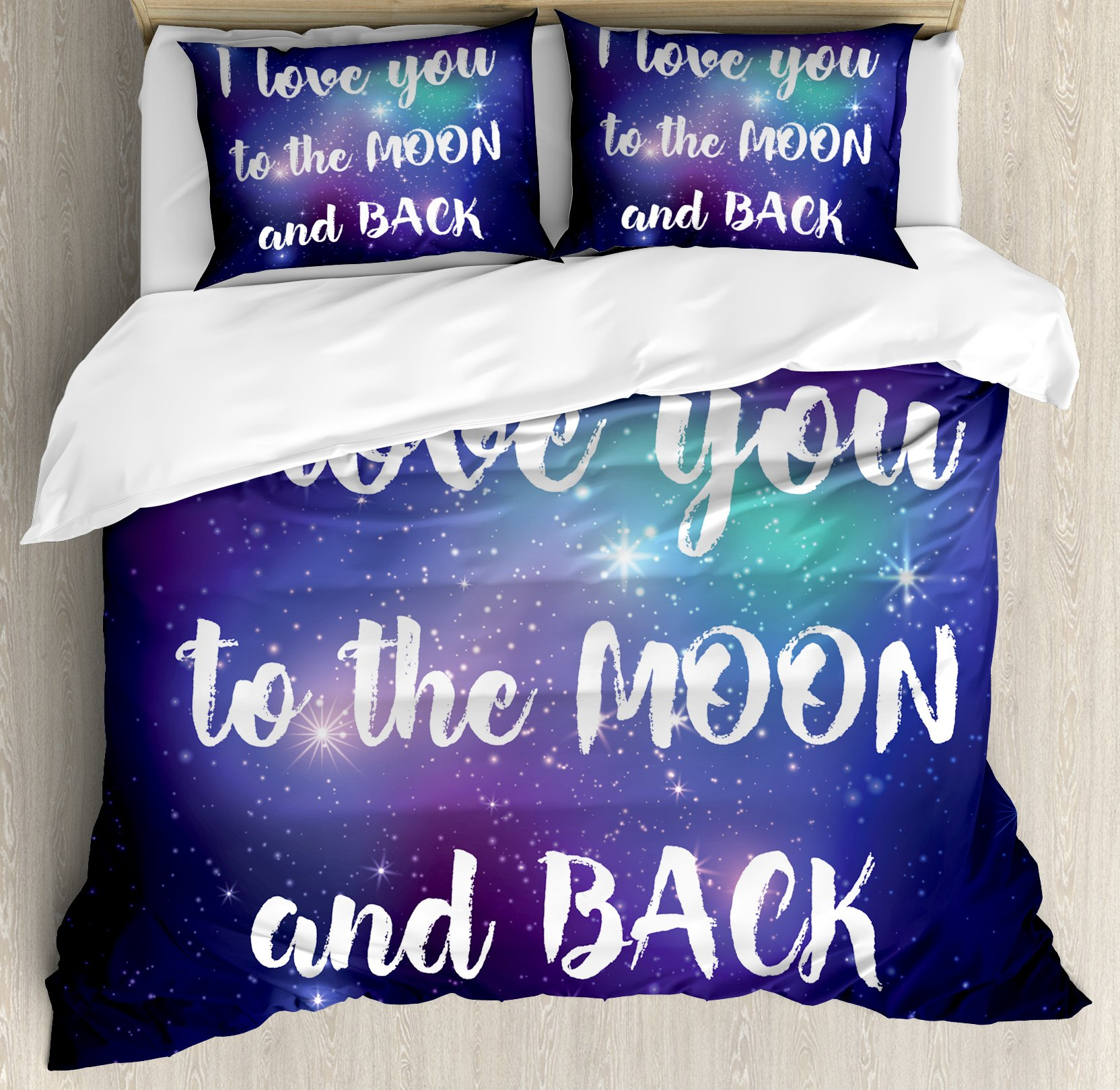 I Love You Duvet Cover Set Queen Size by Ambesonne, Outer Space with Valentine's I Love You to the Moon and Back Typography, Decorative 3 Piece Bedding Set with 2 Pillow Shams, Dark Purple White,