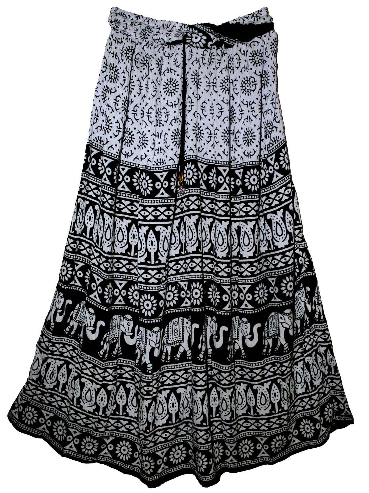 FOI Rayon Indian Hippy Skirt Wrinkle Kjol Jupe Rock Gypsy Retro Boho Falda Women