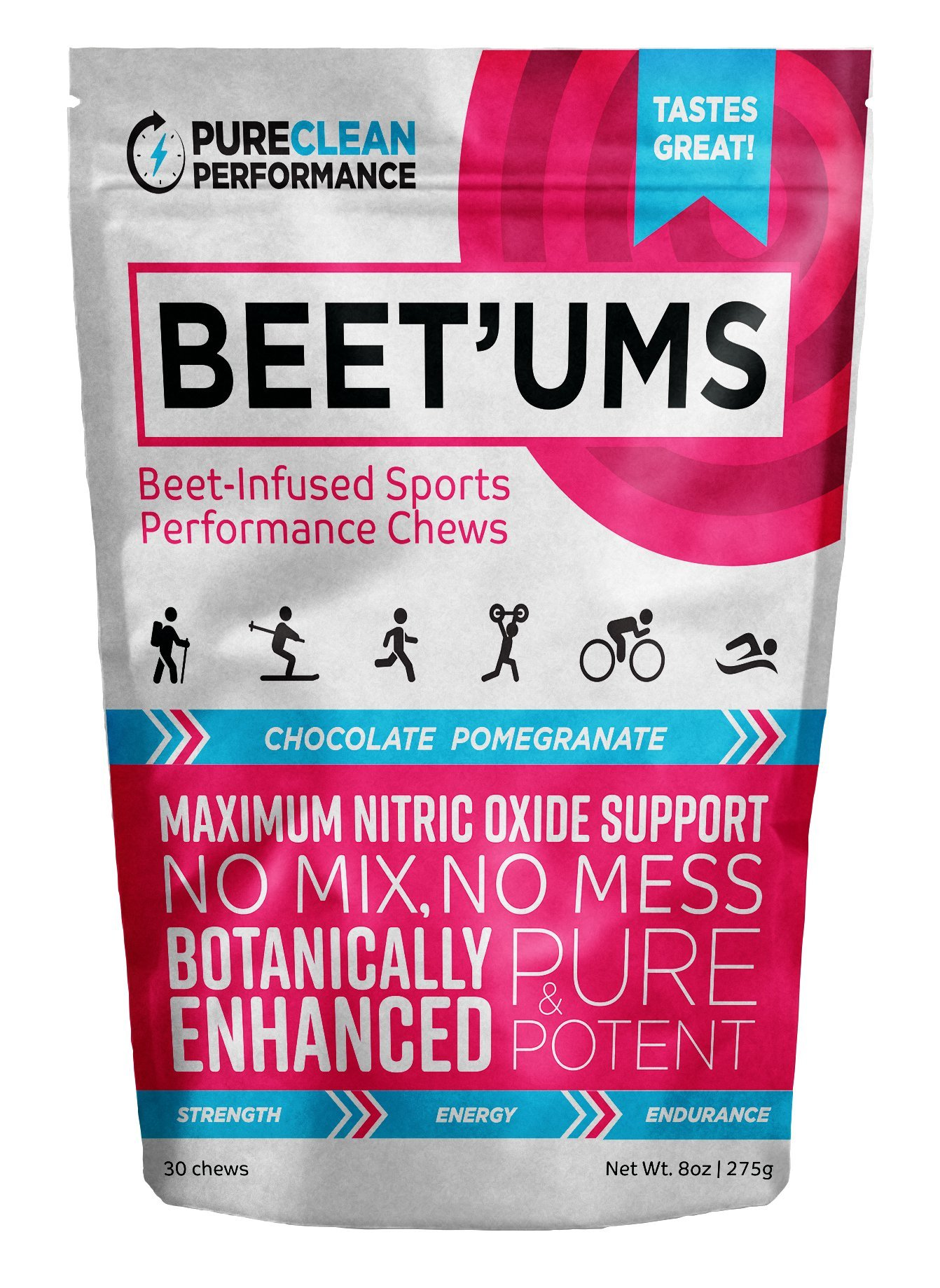 Beet'Ums Beet Infused Chocolate Pomegranate Performance Chews – PureClean Performance Super Beets– Super Concentrated Fermented Beet Juice Powder – Enhanced for Maximum Blood Pressure Benefits