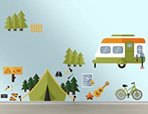 e-Graphic Design Inc Forest Camping Wall Decal - DIY Wall Decal Vinyl Sticker Teens Room Kids Decor (Wide 42