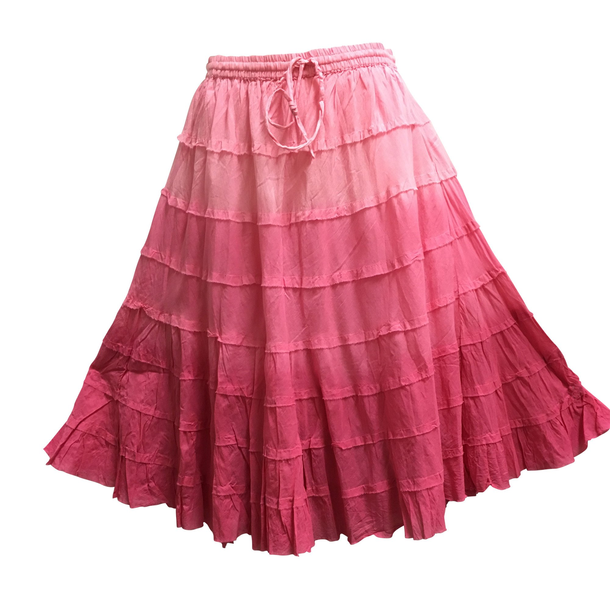 Yoga Trendz Missy Plus Bohemian Gauze Cotton Tiered Crinkled Broomstick Skirt Ombre Mid Length (No6 Fuschia Pink)