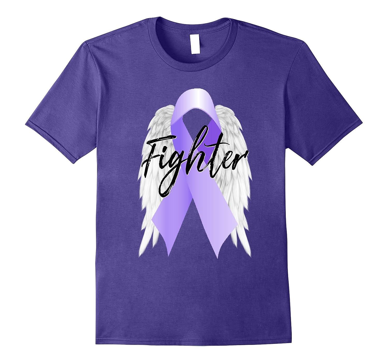 Hodgkin Lymphoma Cancer Shirt Purple Ribbon Angel Wing Fight