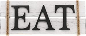 """Barnyard Designs Eat Wood Wall Art Sign Rustic Primitive Farmhouse Country Kitchen and Home Wall Decor 17"""" x 7"""""""