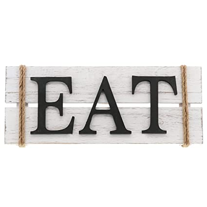 Barnyard Designs Eat Wood Wall Art Sign Rustic Primitive Farmhouse Country Kitchen And Home Wall Decor 17 X 7