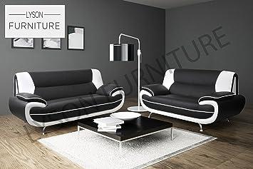 Awesome Lyson Furniture Palermo 3 2 1 Sofa Set Black White Theyellowbook Wood Chair Design Ideas Theyellowbookinfo