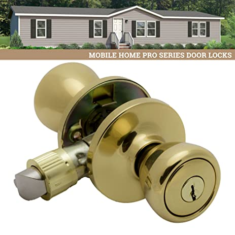 Charmant Pro Grade Classic Mobile Home Keyed Entry Door Knob Handle Hardware,  Polished Brass