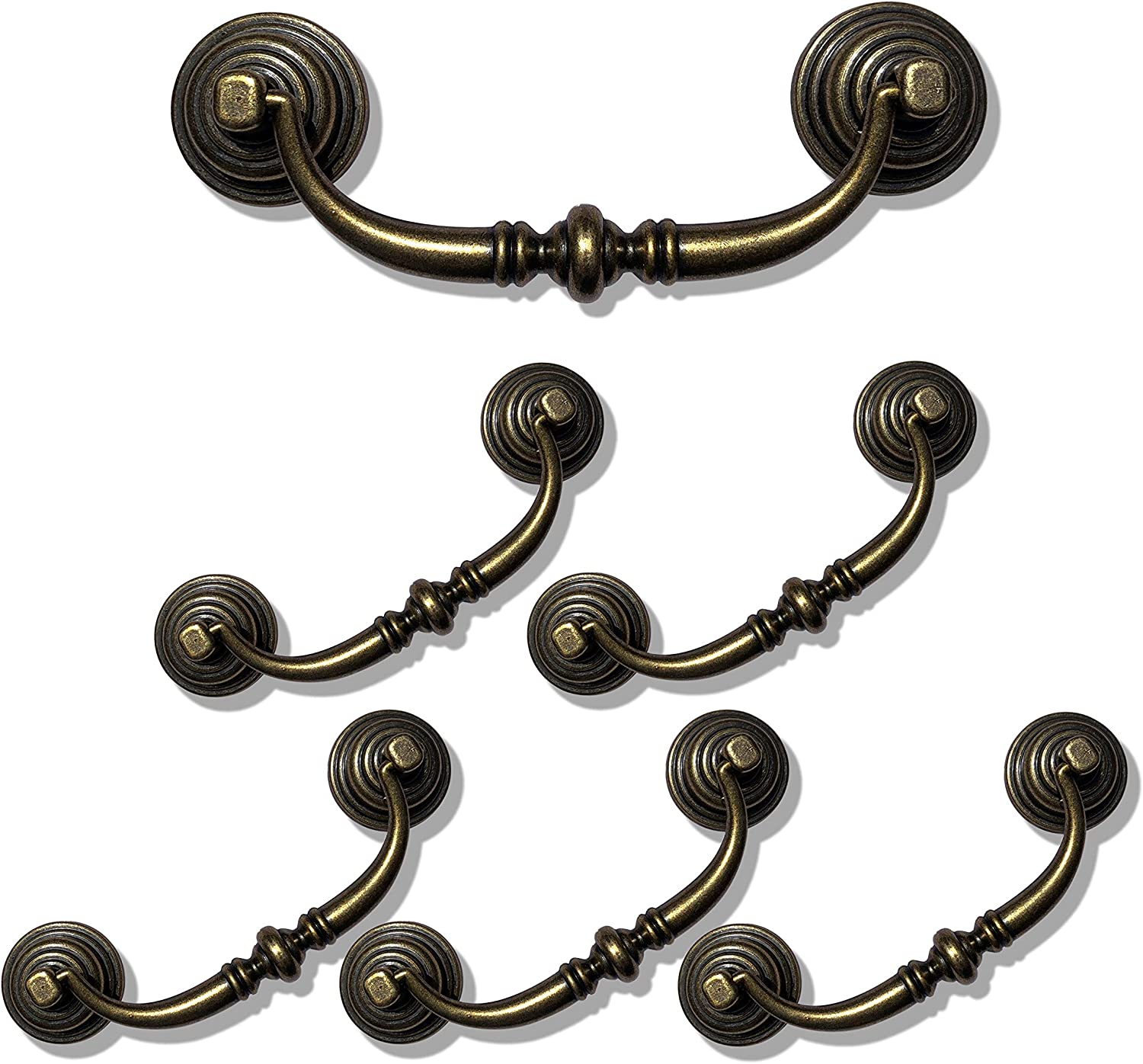 "6 Pack MOOD.SC 3.5""Hole Center Shabby Chic Drawer Pulls Handles Antique Bronze Kitchen Cabinet Drop Bail Pulls Handles (89mm/Antique Brozne)"