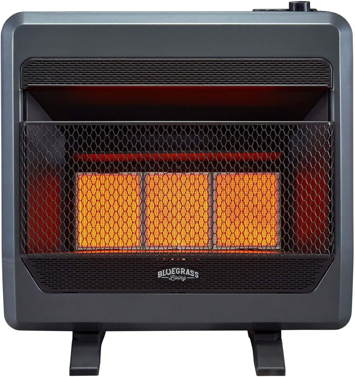 Amazon Com Bluegrass Living B28tpir Bb Propane Vent Free Infrared Gas Space Heater With Blower And Base Feet 28 000 T Stat Control 30 000 Btu Black Home Kitchen