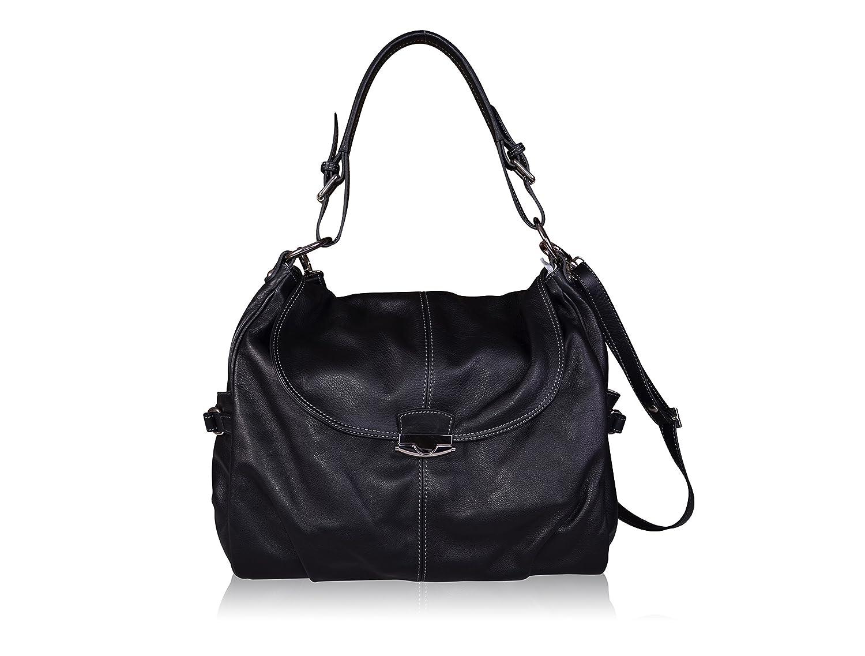 997b7c410023 Maxima Milano Women s Luxury Genuine Italian Soft Black Leather Handbag