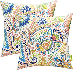 LVTXIII Outdoor Throw Pillow Covers 18 x 18 Inch, Modern Paisley Pattern Decorative Square Toss Pillow Case Pack of 2 for Home Patio Garden Sofa Bed Furniture, Paisley Chili