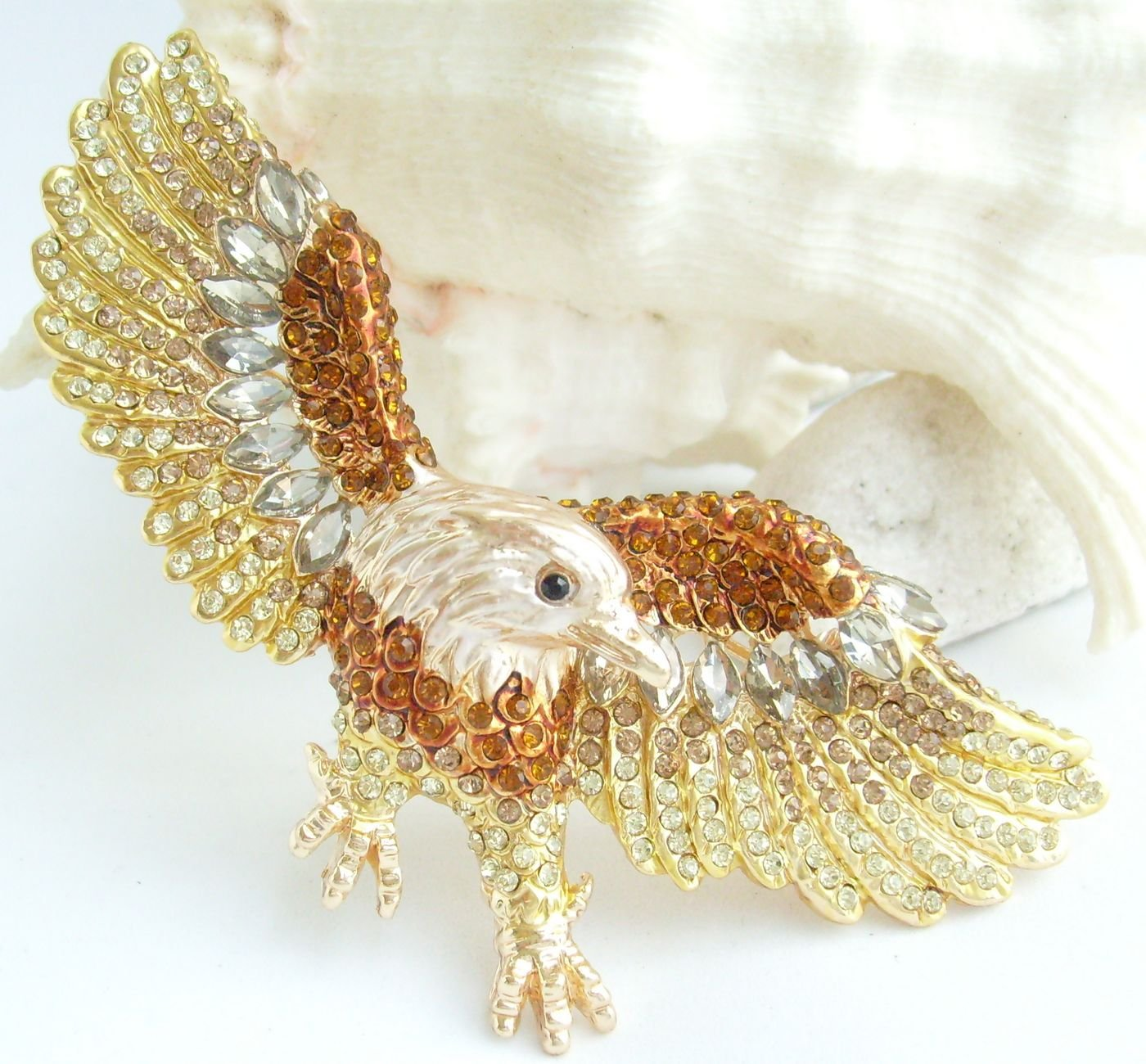 Sindary Unique 3.15'' Eagle Brooch Pin Rhinestone Crystal Pendant BZ4717 (Gold-Tone Brown) by Animal Brooch-Sindary Jewelry (Image #5)