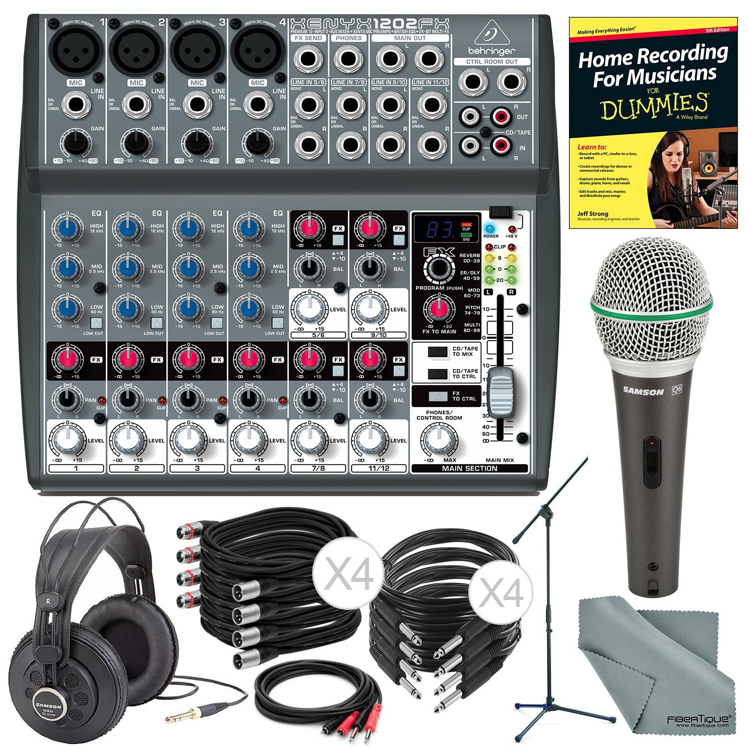 Behringer XENYX 1202FX 12 Channel Audio Mixer w/ Effects Processor and Deluxe Bundle w/ Samson Q6 Mic & Stand + Studio-Reference Headphones + Cables + More by Photo Savings (Image #1)