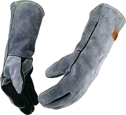 Black Leather Welding Gloves with Kevlar Stitching Heat /& Fire Resistant...