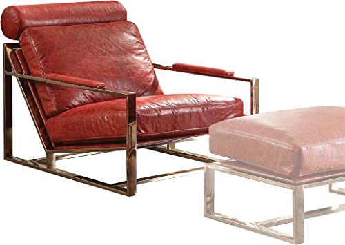 ACME Furniture Quinto Accent Chair, Antique Red Top Grain Leather Stainless Steel