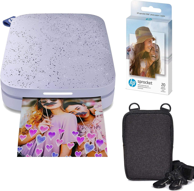 HP Sprocket Portable 2x3 Instant Photo Printer (Lilac) Zink Paper Bundle