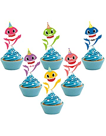 30 Pieces Shark Cupcake Toppers Theme Party Supplies Family Baby Shower Birthday