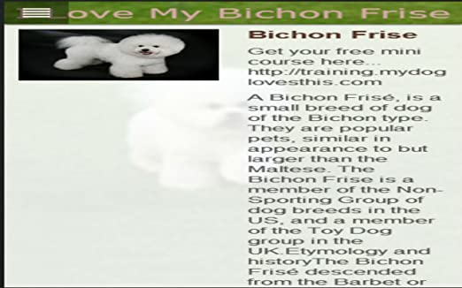 Amazon com: I Love My Bichon Frise: Appstore for Android