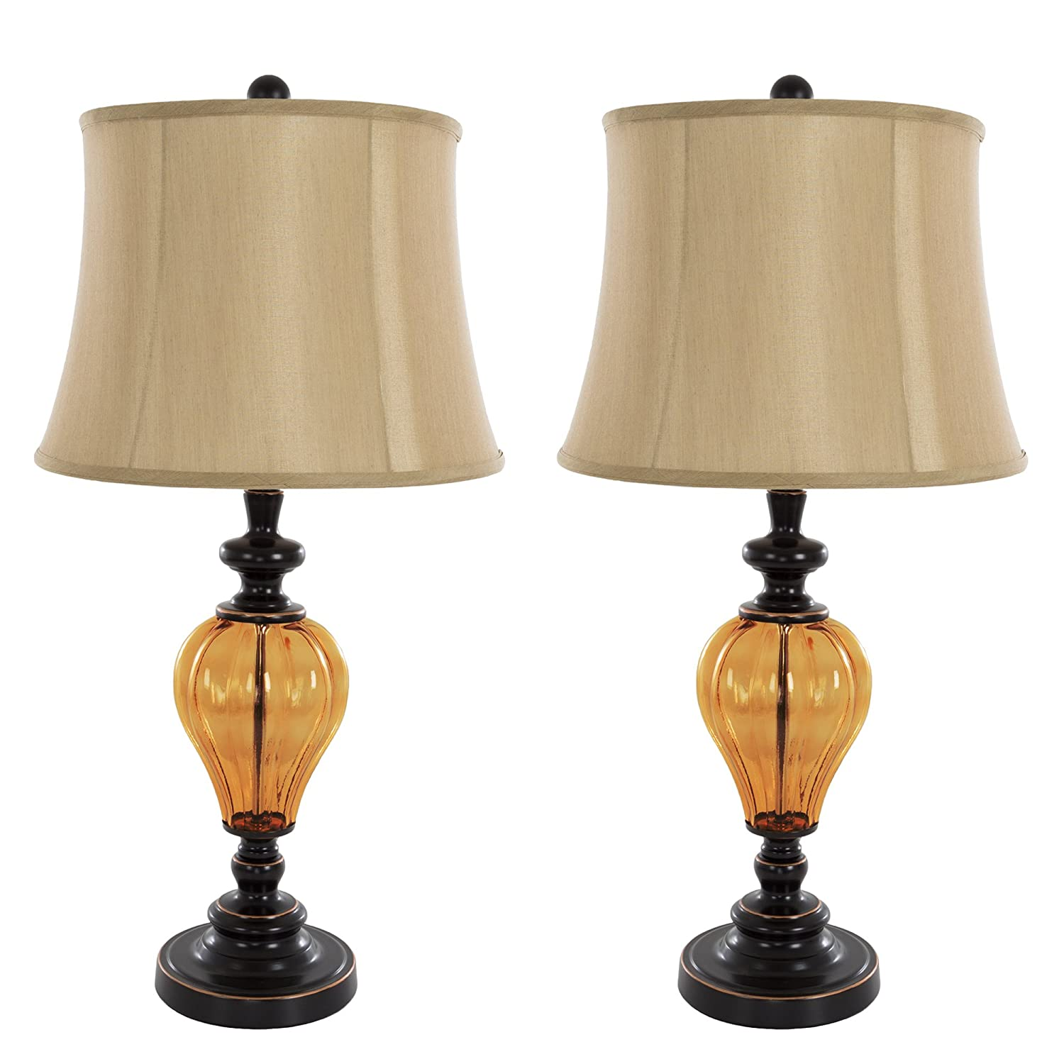 Table Lamps Set of 2, Amber Glass (2 LED Bulbs included) by Lavish Home