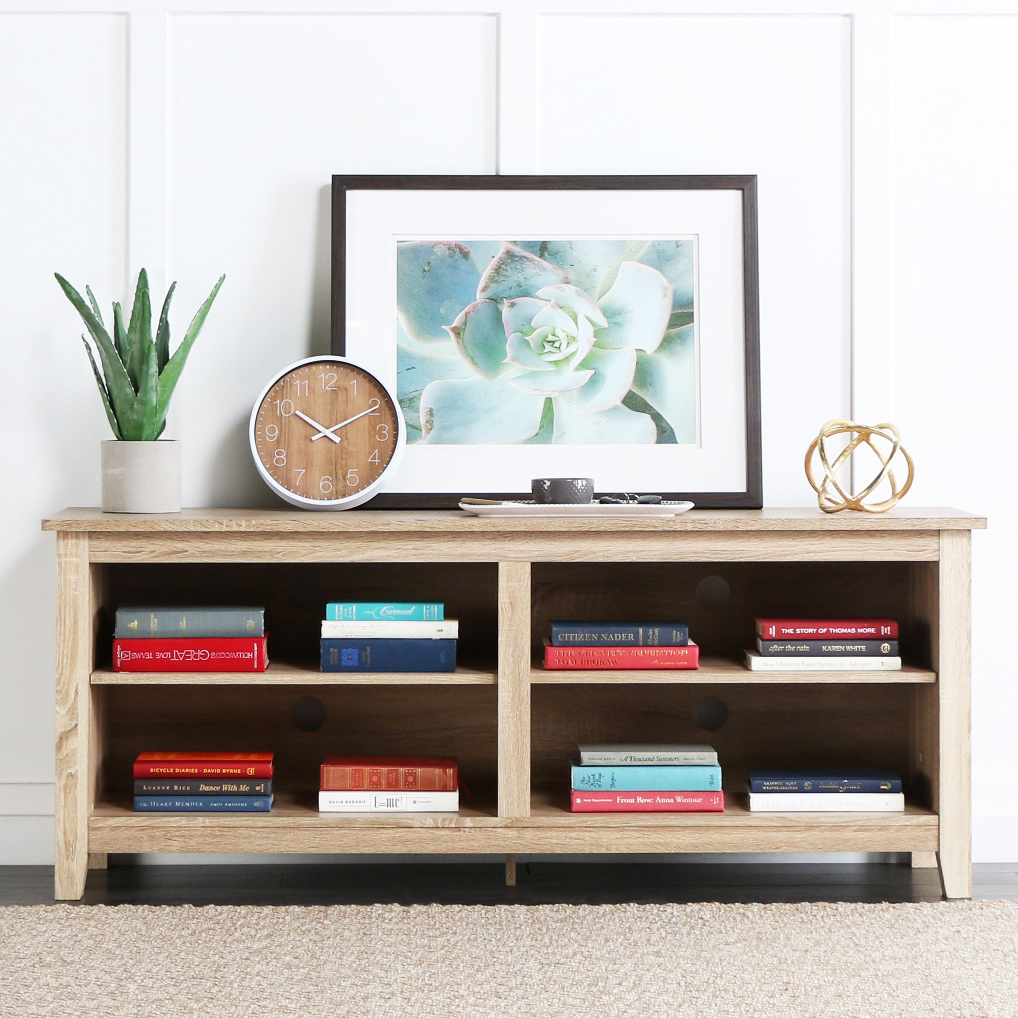 New 58'' Modern Tv Console Stand - Natural Finish