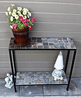Pebble Lane Living 2 Tier Concrete Patio Console Buffet Sofa Table   Slate