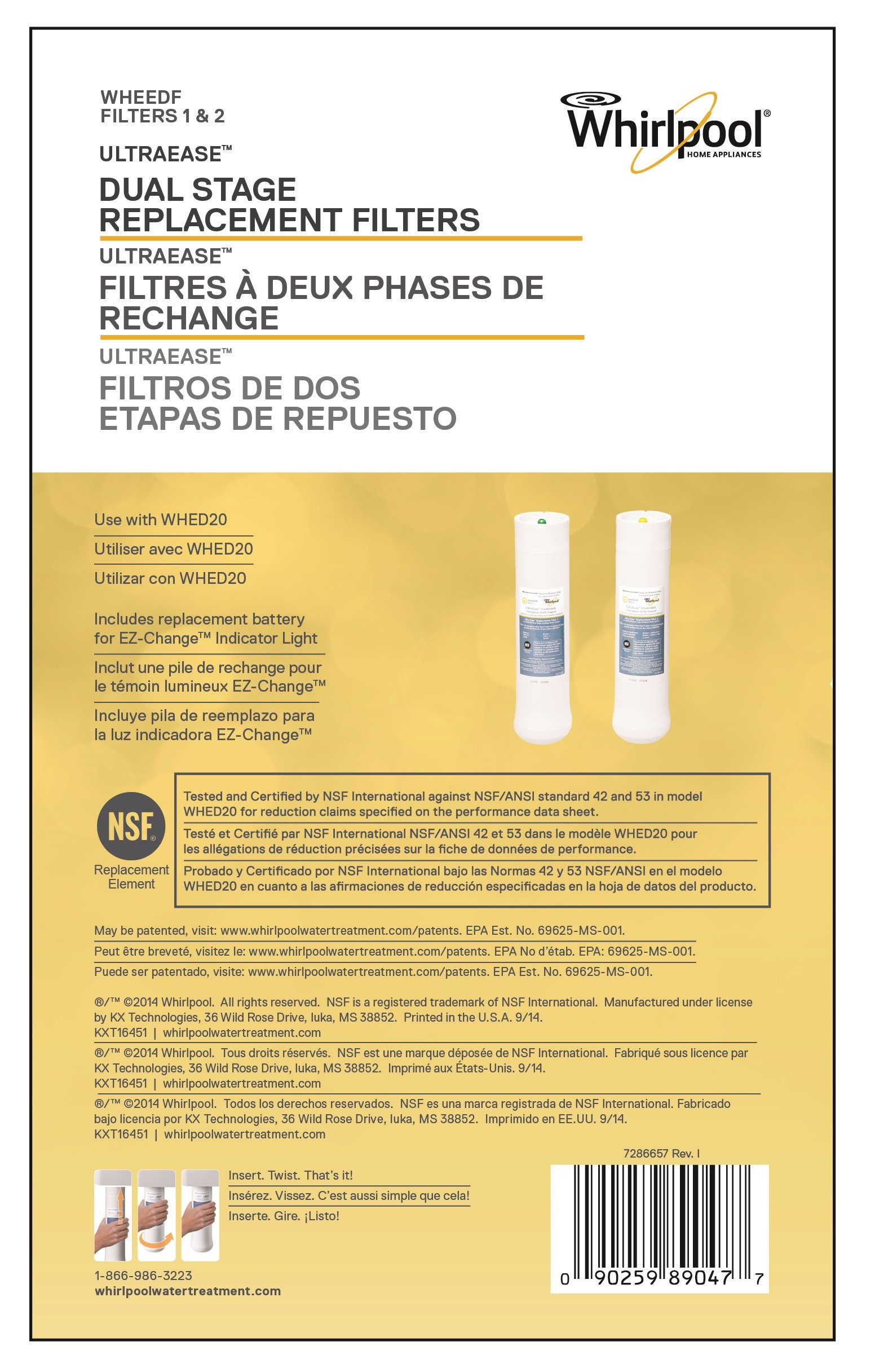 Whirlpool WHEEDF Dual Stage Replacement Pre/Post Water Filters (Fits Systems WHADUS5 & WHED20) by Whirlpool (Image #2)