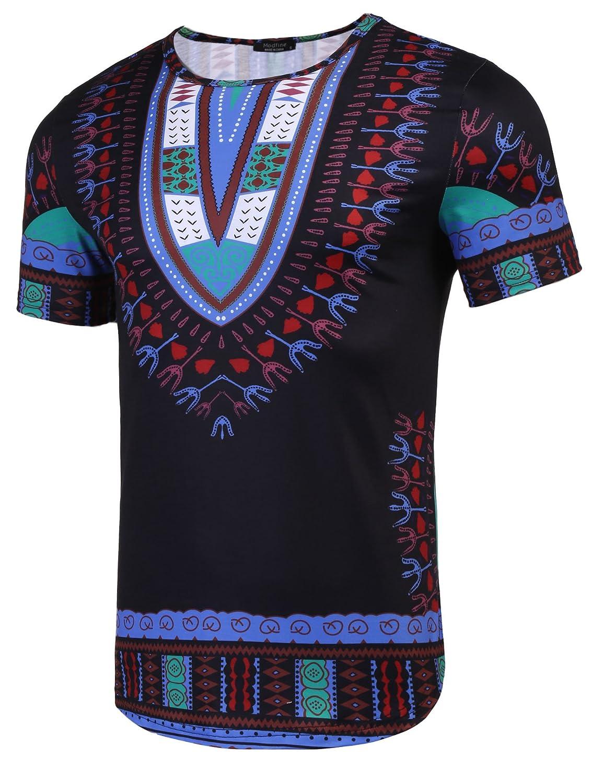 211c7516 Amazon.com: Modfine Men's Short Sleeve Tee Hipster Hip Hop Tribal African  Dashiki Graphic T-Shirt: Clothing