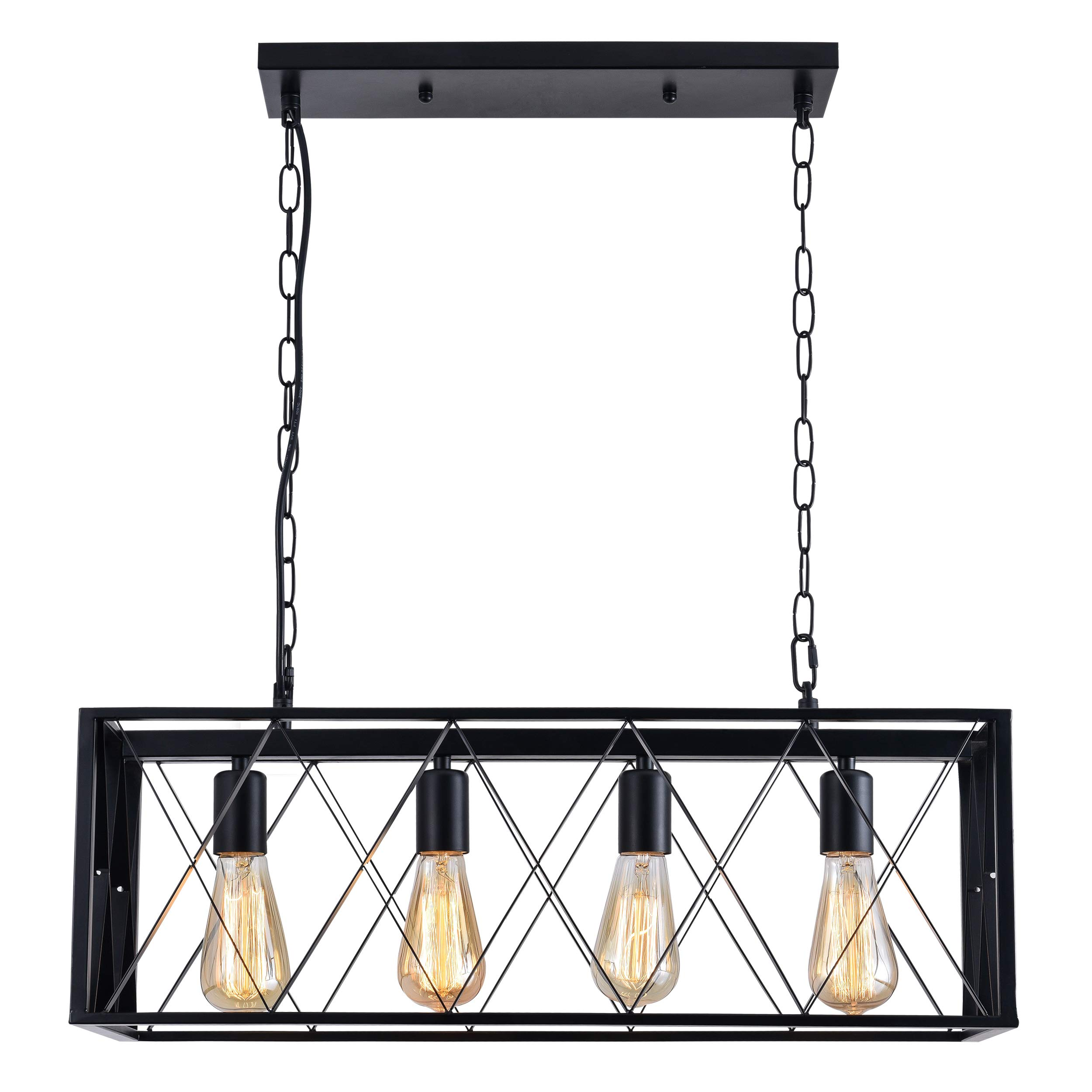ISRAMP Kitchen Island Lighting Fixtures, 4-Light Rectangle Iron Matte Black Shade Industrial Pendant Light Rustic Farmhouse Chandelier