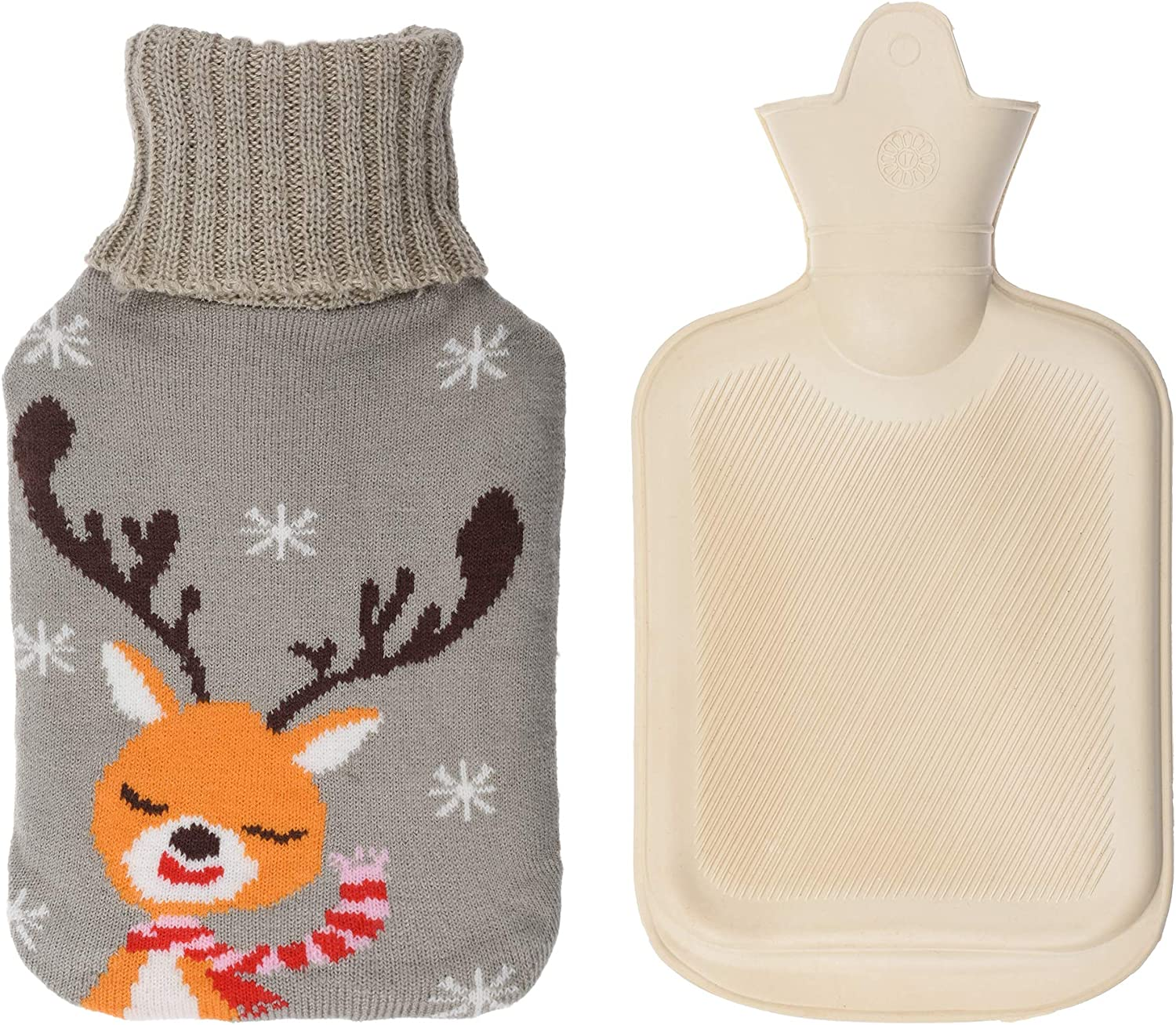 Beautyflier Cute Rubber Hot Water Bag with Plush Fleece Knitted Covers 1 Liter Water Injection Warm Heater Bag for Hand Feet Belly Warmer (Deer)