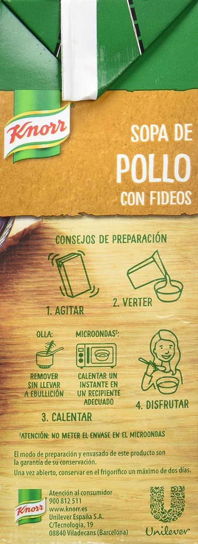 Knorr Sopa Líquida de Pollo con Fideos - 1000 ml - [Pack de 8 ...