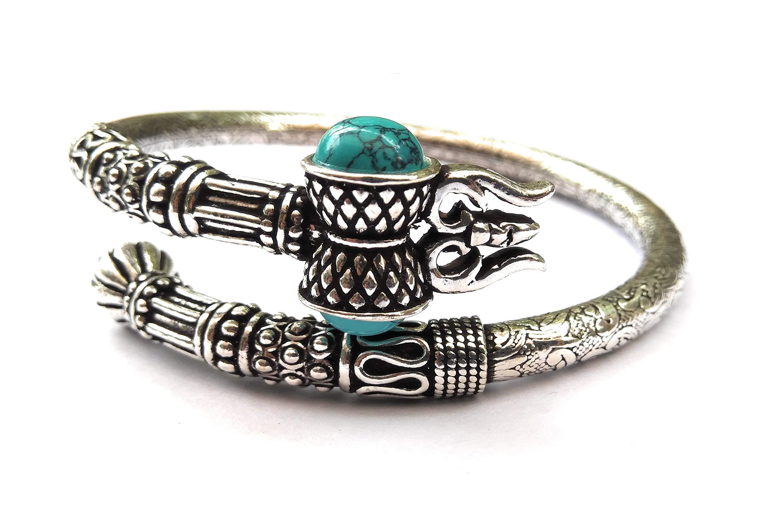 KUKSHYA 925 Pure Silver Trishul Damroo Designer Kada Bracelet Bangle for Women and Men (Flexible) 43GM Approx product image