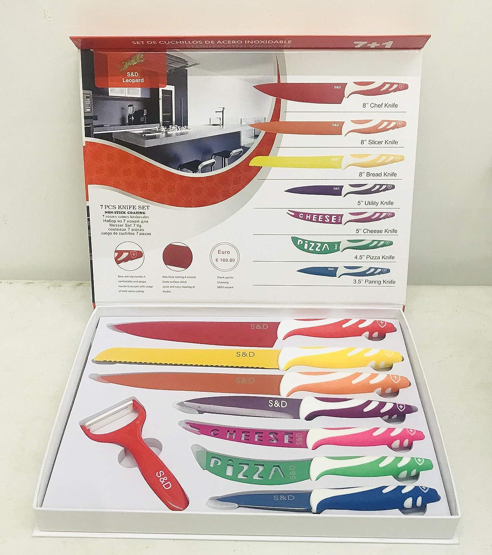 Amazon.com: S&D LEOPARD 7+1 KITCHEN KNIVES 12SETS: Kitchen ...