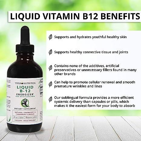 Vitamina Líquida B12 Energizer. Metilcobalamina sin conservantes artificiales para consumo sublingual. Sin cianocobalamina sintética , 120 ml (4 ...