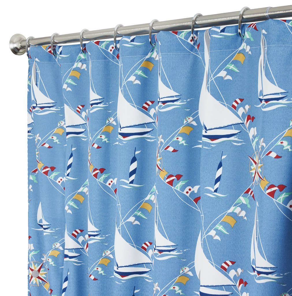Amazon.com: Nautical extra long shower curtain Unique Fabric Blue ...