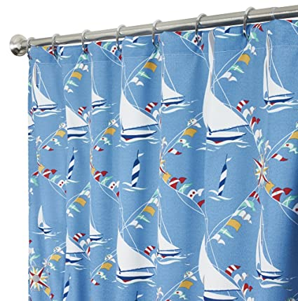 Image Unavailable Not Available For Color Nautical Extra Long Shower Curtain Unique Fabric Blue Beach Decor Sailboat 96 Inches