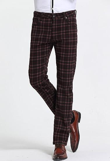 b3613771ce SSLR Men's Check Thermal Straight Fit Fleece Jeans Pants (W36 x L32,  Burgundy) at Amazon Men's Clothing store: