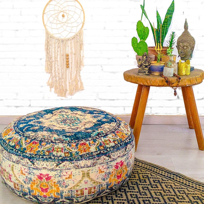 Mandala Life ART Bohemian Yoga Decor Floor Cushion Cover - 24x8 inches - Round Meditation Carpet Pillow Case - Printed Cotton Rug Pouf: Furniture & Decor